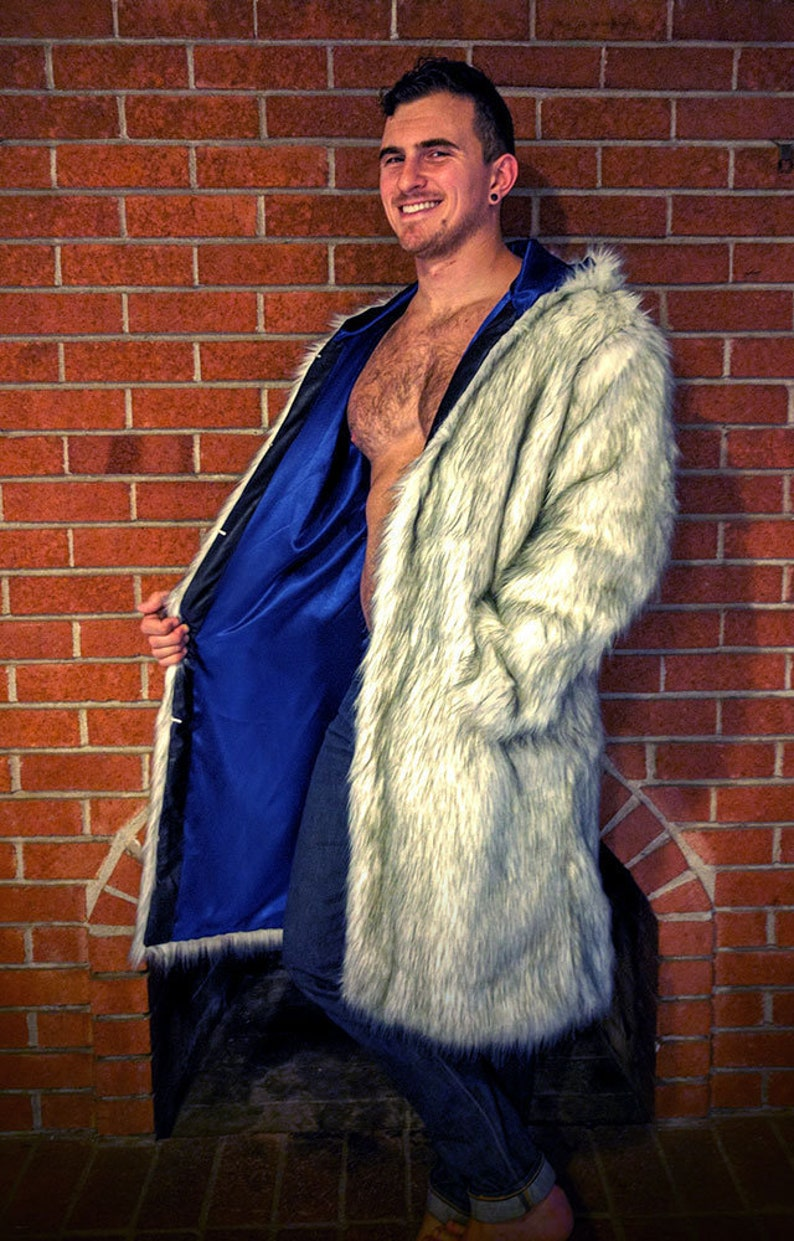 Ready to ship Faux Fur Husky Coat with Blue Liner