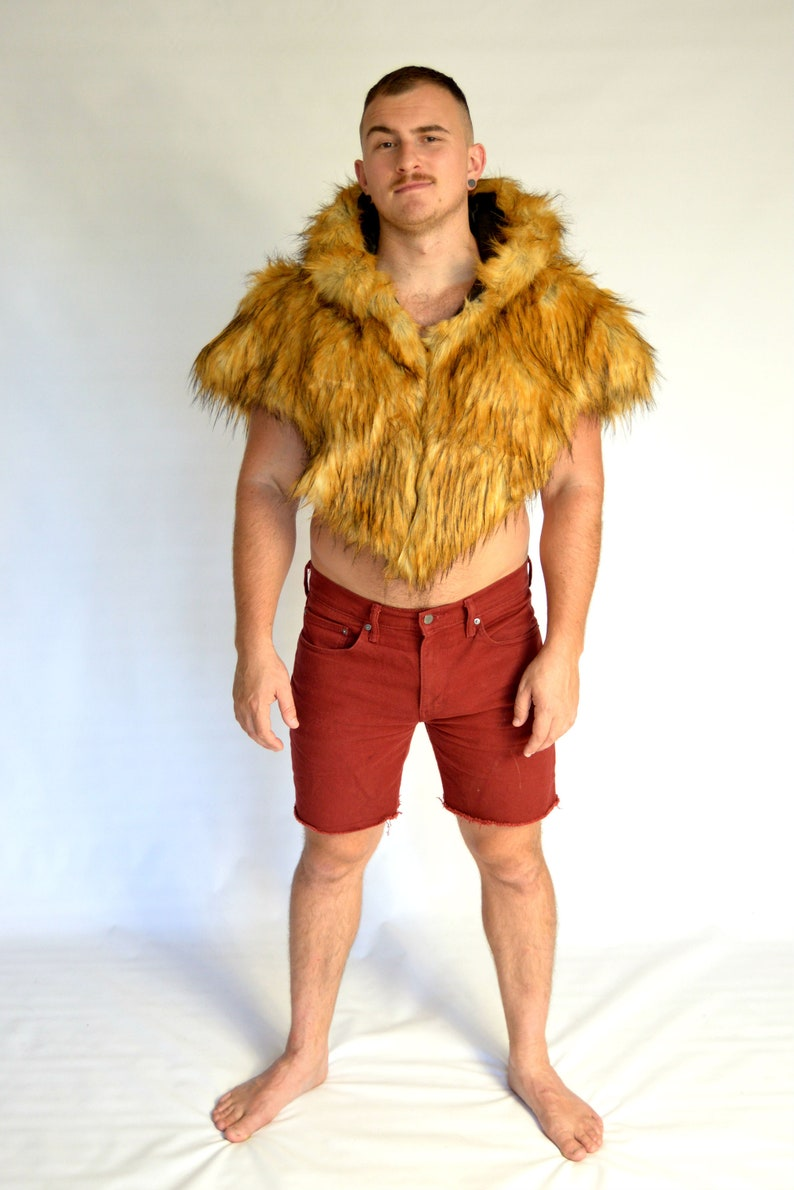 775d21019b38 Red Fox Faux Fur Shawl for Burning Man and Festivals