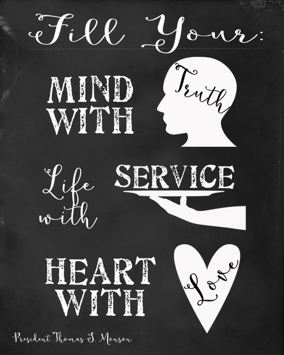Lds Fill Your Mind With Truth Life With Service Heart With Etsy