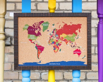 Corkboard map etsy cork world map travel push pin board corkboard s bulletin memo notice message photo note framed color white small 18 x 13 455 x 33cm gumiabroncs Images