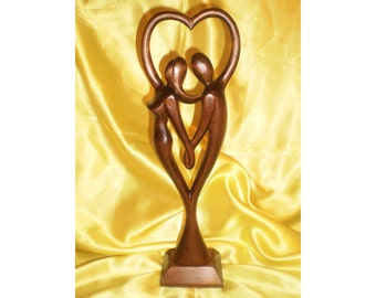"Wooden figurine ""Couple heart"", romantic statuette 13.4"", hand carved love sculpture"