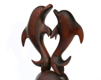 """Wooden figurine """"Dolphins in love"""", romantic statuette 7.5"""", hand carved love sculpture"""