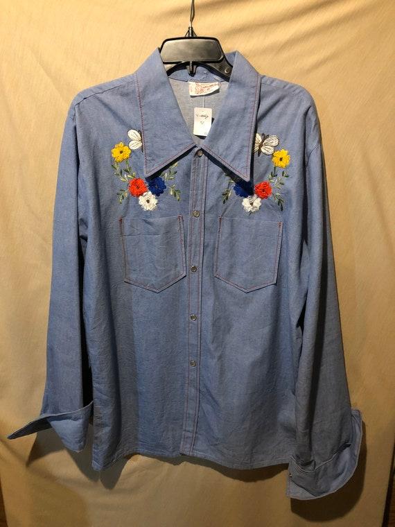 Vintage embroidered western jean shirt