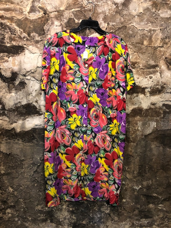 VINTAGE 80s Handmade Bright Floral Dress