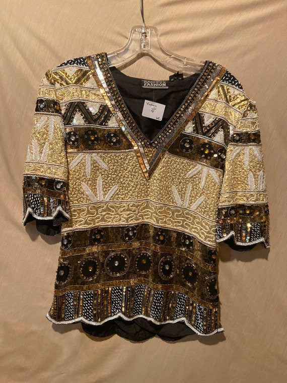 Vintage Beaded and Sequinned Blouse