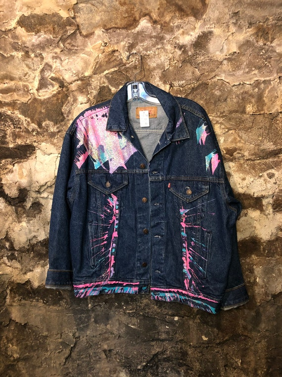 VINTAGE Hand Painted Levis Denim Jacket