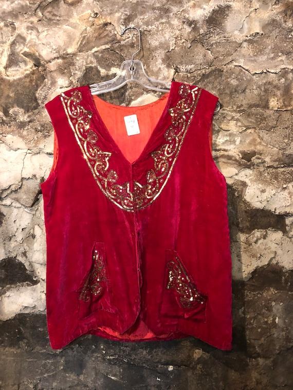 VINTAGE Red Velvet Sequin Vest L