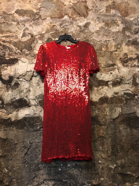 VINTAGE 80s Red Silk Sequin Dress