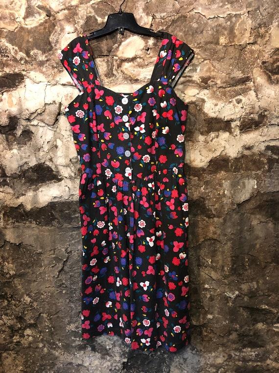VINTAGE 90s Grungy Floral Sun Dress