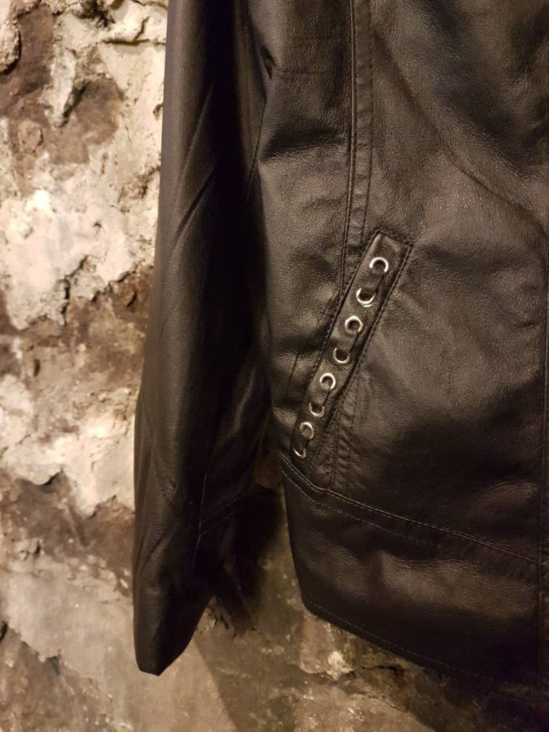 VINTAGE Vegan leather black lightweight jacket
