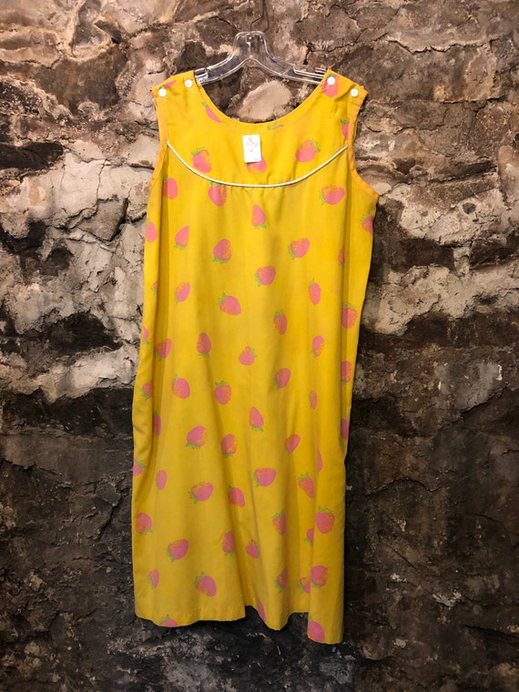 VINTAGE Yellow & Pink Strawberry Dress