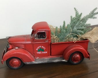 old truck christmas tree christmas tree truck red truck farmhouse table decor farmhouse decor fixer upper decor rustic table decor