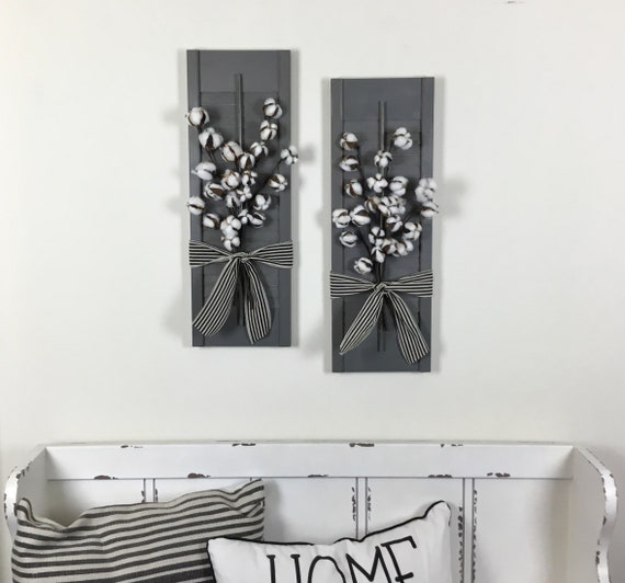 Shutter Wall Decor with Cotton Swag