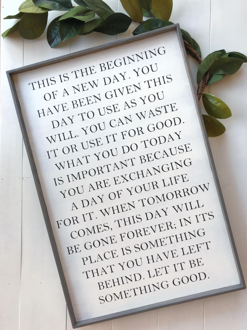 This Is The Beginning Of A New Day Quote Wood Sign New Day Etsy