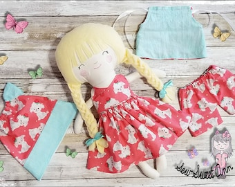 Rag Doll - Dress up doll - Retro Cloth Doll - Fabric Doll - Handmade - Soft Doll Children's Gifts
