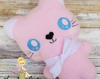 Kitten Stuffie - Pink Kawaii Plush - Kitty Cat Plush - Softie - Toddler Toy - Soft Stuffed Animal - cloth toy
