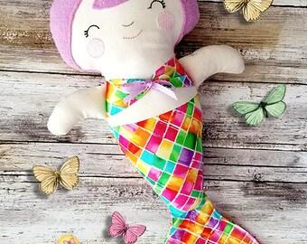Plush Mermaid Doll - Rag Doll - Cloth Doll - Fabric Doll - Soft Baby Doll - Merbaby Doll