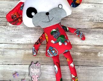 Handmade Puppy Dog Dress up Doll, Stuffed Animal, Soft Fabric Doll