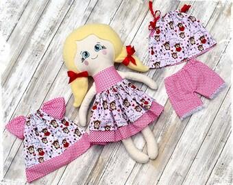 Rag Doll - Cloth Doll - Fabric Doll - Heirloom Doll - Handmade - Doll Set - Dress up Doll