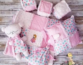 Baby Nursery Set Princess Rag Quilt - Baby Shower Gift - Teddy Bear - Lovie - Pillow - Soft Blocks
