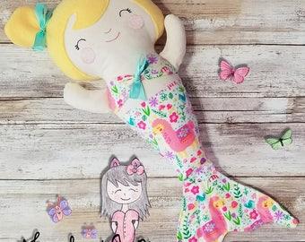 Merbaby Doll - Mermaid Rag Doll - Soft Cloth Doll - Fabric Doll - Soft Doll - Handmade Dolly