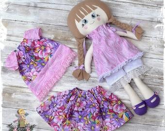 Fabric Doll Handmade - Dress up Doll - Rag Doll - Cloth Doll -  Doll Set