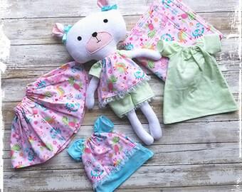 Handmade Rag Doll / Teddy Bear / Dress up doll / Fabric doll / Stuffed Animal doll
