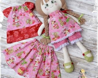 Fabric Dress up Doll -Cloth Doll - Rag Doll - Heirloom Doll - Handmade - Doll Set