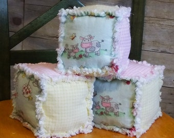 Stuffed Toys Rag Quilt Blocks - Soft Toys - Toddler Toys Blocks - Baby and Toddler Toys