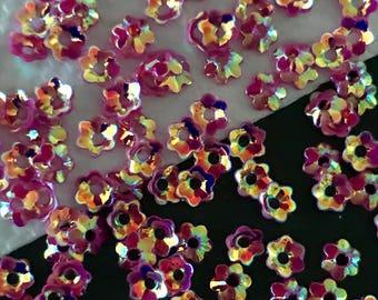 Flower Cup Sequins 5mm Tiny Tangerine Orange /& Crystal Gold AB Choose Pack Size