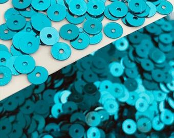 Ring Doughnut Sequins 15mm Turquoise Blue Laser Hologram Metallic Flat x 100