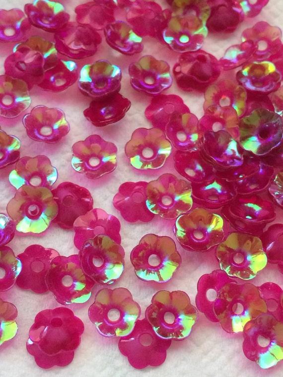 Sequins 4mm Dark Watermelon Pink AB Coolie Hat Cup Shape Choose Pack Size