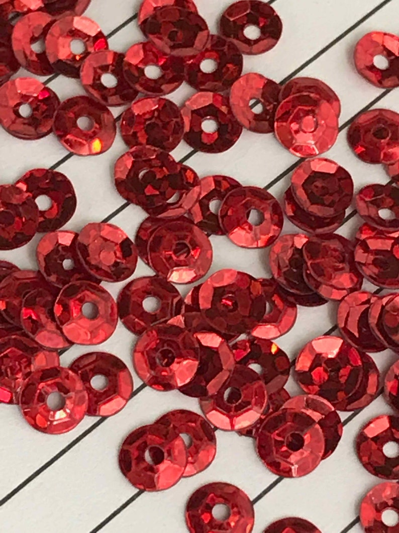 Flat Cup Sequins Tiny 4mm Red Hologram Laser Metallic CHOOSE PACK Size