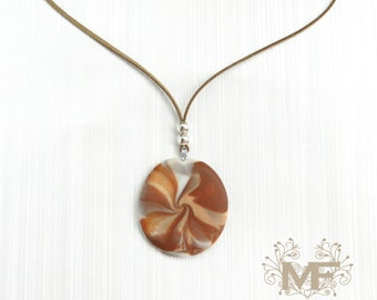 Brown necklace, polymer clay, swirl, leather, handmade, jewelry, woman, fashion, accessories, present, gift