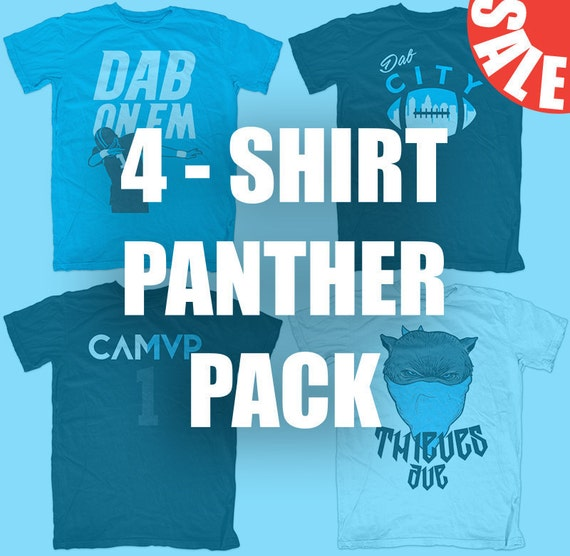 a3fd0acaa Panthers 4-Shirt Pack Dab On Em CAMVP Dab City Thieves | Etsy