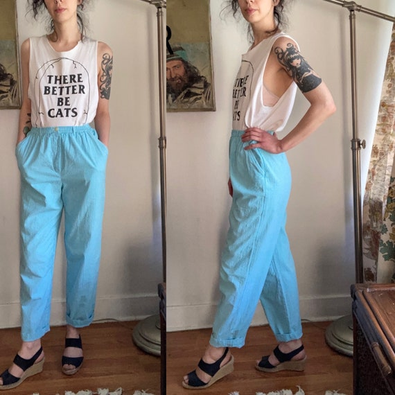 Vintage CP Shades Floral Rayon Baggy Pants Large High Waist 80s Dark Green