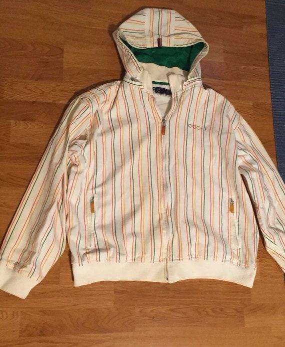 Vintage Coogi 90s striped zip up hoodie jacket