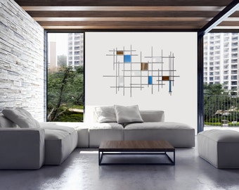 "Metal and Glass Wall Sculpture ""Gridded"""