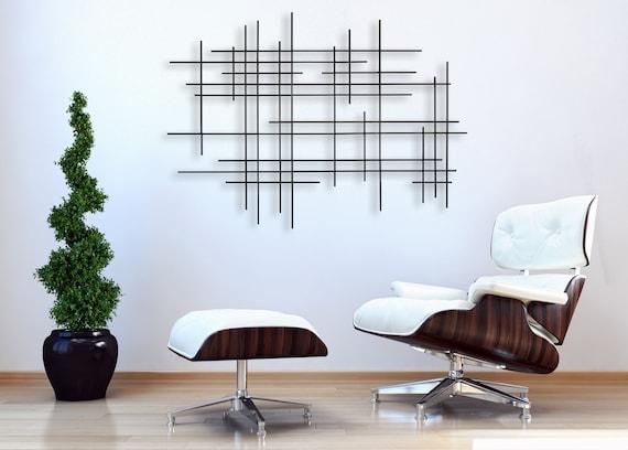 Metal Wall Sculpture Linear Abstract Modern Design Wall Art 3d Geometric Minimalist Modern Home Decor Modern Wall Decor Metal Art