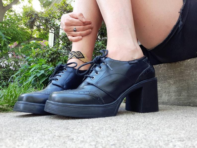 0a2b8d2e9dc Mudd Black Oxford chunky platform 90s vintage shoes