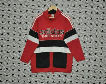 Vintage 90's ADIDAS BIG LOGO Sweatshirt Hip Hop Style Sweater Run Dmc Gangsta Rap Multicolor Jumper Jacket M