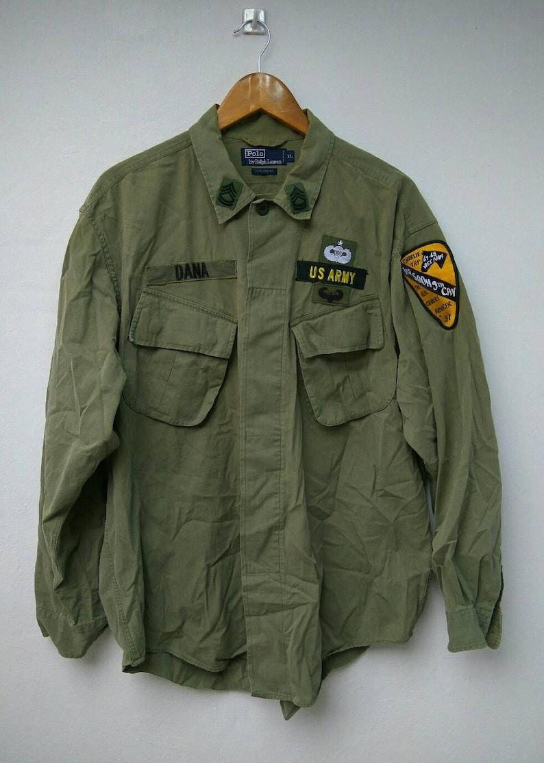 War Ralph Rare Polo Vietnam Men Super Us Shirt Lauren Cotton Army fb67vYgy