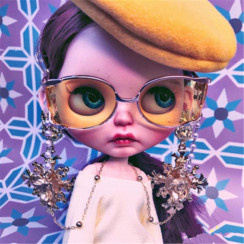 White Metal Glasses for Neo Blythe doll