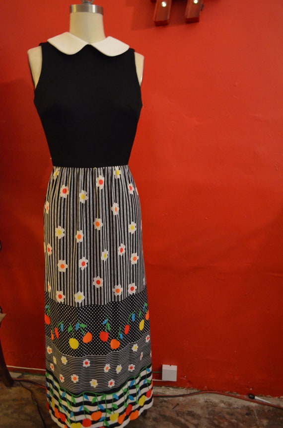 1970s,Spring,Floral Maxi Dress,Sleeveless,Collared