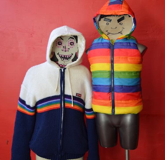 BRITTANIA vintage, rainbow jacket, knit coat. rai… - image 9