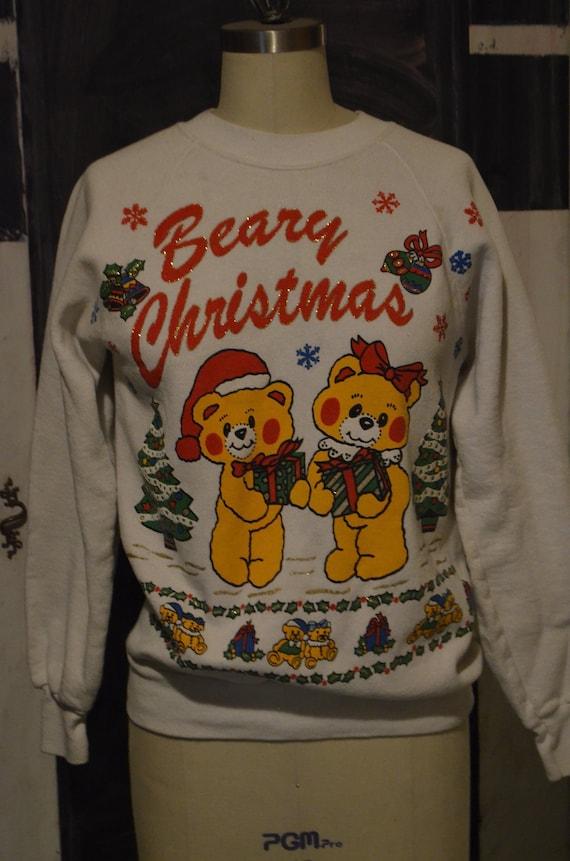 Ugly Christmas Sweater Cute Teddy Bears Beary Christmas Etsy