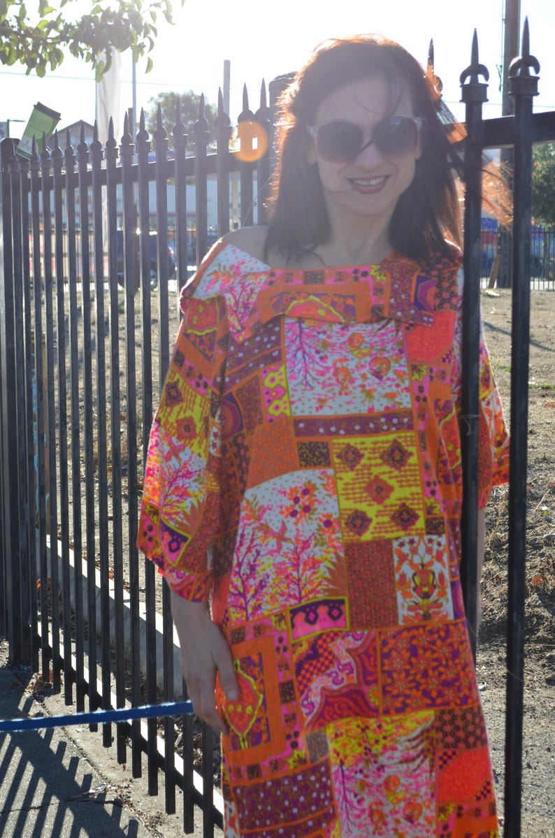 Psychedelic dress hippie boho bark cloth maxi dress Vintage Hawaiian bright  neon colors women vintage plus size dress festival clothing