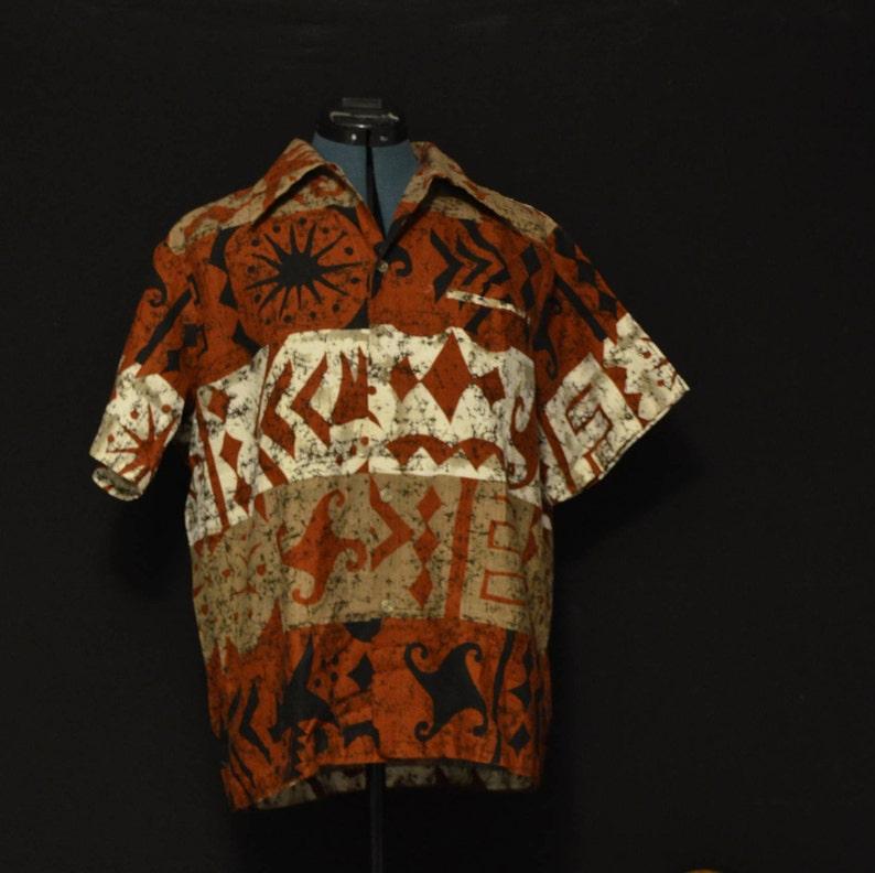 09735579 Vintage mens tribal print rare batik bark Rare 1960s hawaiian | Etsy