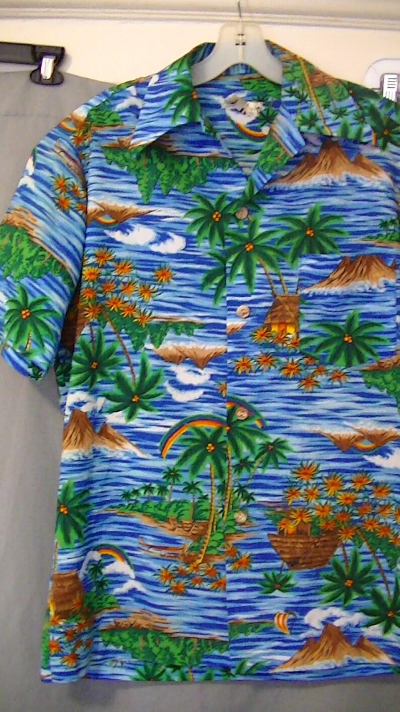 0f1ea5b5 Rare Mens Aloha ShirtRainbowPrideFunkyWild ColorsTiki | Etsy