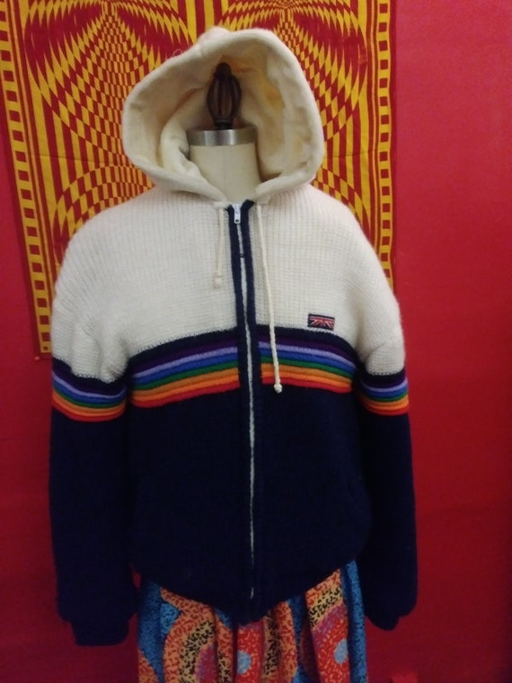 BRITTANIA vintage, rainbow jacket, knit coat. rain